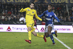 December 13, 2017 - Strasbourg, France - Strasbourg's French defender Yoann Salmier (R) vies with Paris Saint-Germain's Javier PASTORE during the french League Cup match, Round of 16, between Strasbourg and Paris Saint Germain on December 13, 2017 in Strasbourg, France. (Credit Image: © Elyxandro Cegarra/NurPhoto via ZUMA Press)