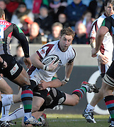 Twickenham, GREAT BRITAIN,  Tigers, Johne MURPHEY looks for support,  during the Guinness Premiership Game, Harlequins [Quins] vs Leicester Tigers, at the Twickenham Stoop 06/01/2008 [Mandatory credit Peter Spurrier/ Intersport Images].