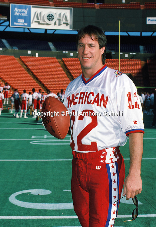 The American Football Conference Buffalo Bills quarterback Jim Kelly poses for a photo during photo day the week before the 1989 NFL Pro Bowl football game against the National Football Conference on Jan. 24, 1989 in Honolulu. The NFC won the game 34-3. (©Paul Anthony Spinelli)