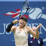 2017 U.S. Open Tennis Tournament - DAY THREE.  Maria Sharapova of Russia in action against Timea Babos of Hungary during the Women's Singles round two match at the US Open Tennis Tournament at the USTA Billie Jean King National Tennis Center on August 30, 2017 in Flushing, Queens, New York City.  (Photo by Tim Clayton/Corbis via Getty Images)