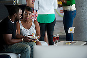 "Guests eat lunch before a screening of BET's ""Being Mary Jane"" at the W Hotel in Dallas, Texas on June 22, 2013."