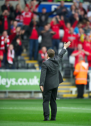 SWANSEA, WALES - Monday, May 15, 2011: Nottingham Forest's manager Billy Davies waves to the travelling supporters before the Football League Championship Play-Off Semi-Final 2nd Leg match against Swansea City at the Liberty Stadium. (Photo by David Rawcliffe/Propaganda)