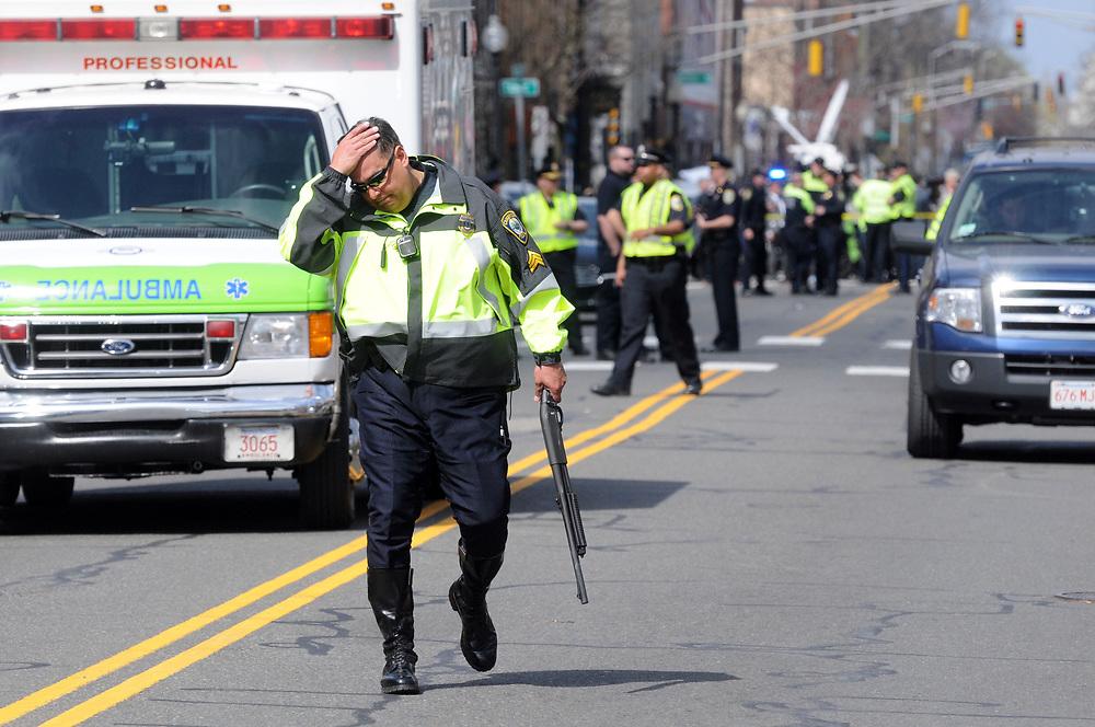 The scene near the Norfolk St. Cambridge home of the suspected Boston Marathon bombers. Mara Lavitt/New Haven Register mlavitt@newhavenregister.com<br /> <br /> 4/19/13