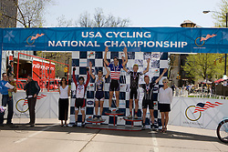 Men's Division 2 criterium top 5 finishers Craig Leukens (Yale University), Spencer Beamer (Furman University), Thomas Brown (Emory University), Jason Sears (Massachusetts Institute of Technology), and Zak Grabowski (Colorado School of Mines).  Podium awards were given out after The 2008 USA Cycling Collegiate National Championships Criterium event held in Fort Collins, CO on May 11, 2008.