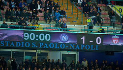 NAPLES, ITALY - Wednesday, October 3, 2018: The scoreboard records Napoli's 1-0 victory over Liverpool during the UEFA Champions League Group C match between S.S.C. Napoli and Liverpool FC at Stadio San Paolo. (Pic by David Rawcliffe/Propaganda)