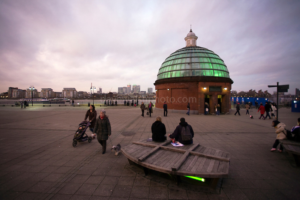 Dusk at Greenwich Foot Tunnel, London, connecting Greenwich with Borough of Tower Hamlets. Project started in June 1899 and the tunnel was opened on 4 August 1902. Designed by civil engineer Sir Alexander Binnie for London County Council.
