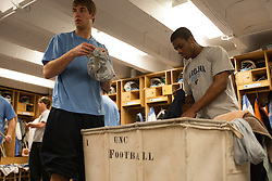 08 March 2008: North Carolina Tar Heels men's lacrosse midfielder Ben Hunt (18) and defenseman Milton Lyles (49) pregame before playing the Notre Dame Fighting Irish in Chapel Hill, NC.