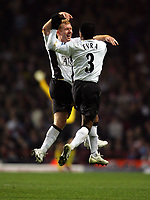 Paul Scholes Celebrates Scoring 2nd goal with team mate Patrice Evra<br />