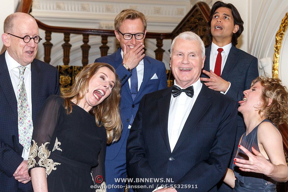 NLD/Amsterdam/20150511 - uitreiking Libris Literatuurprijs 2015, Adriaan van Dis, Kees 't hart, Nina Weijers, Esther Gerritsen, Gustaaf Peek, Peter Terrin