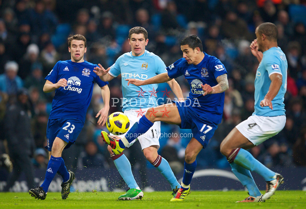 MANCHESTER, ENGLAND - Monday, December 20, 2010: Everton's Tim Cahill in action against Manchester City during the Premiership match at the City of Manchester Stadium. (Pic by: David Rawcliffe/Propaganda)