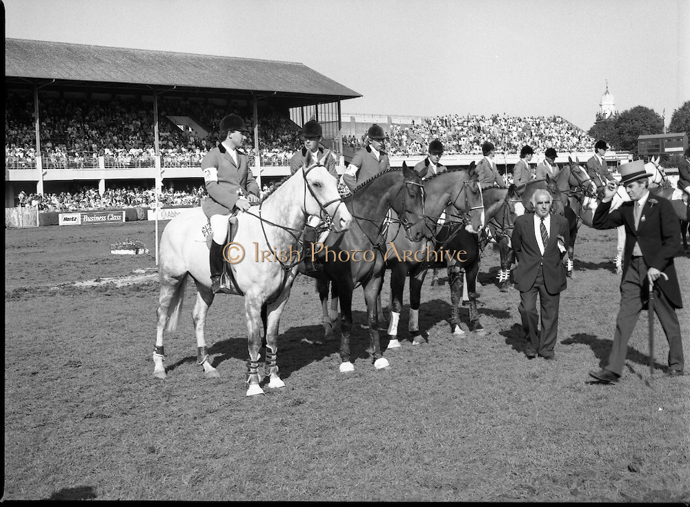 Aga Khan Cup at the RDS.    (R39)..1986..08.08.1986..8th August 1986..The annual Aga Khan Cup competition was held at the RDS ( Royal Dublin Showgrounds) today. In a keenly contested competition The Great Britain team emerged victorious. The Great Britain team was led by Chef dEquipe Mr Ronnie Massarella..Image shows the Great Britain team of Nick Skelton, Michael Whitaker,Peter Charles and John Whitaker waiting to recieve the Aga Khan Cup. Chef d'Equipe Ronnie Massarella stands in front.