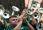 AUGUST 26, 2018  ATHENS, OHIO:<br /> Members of of the Ohio University Marching 110 played for the crowd on College Green after marching with the new incoming freshman class from the Convocation Center to the College recruitment tables set up one College Green ring the freshman convocation on August 26, 2018 in Athens, Ohio.