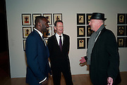 CHRIS OFILI; SIR NICHOLAS SEROTA; TIM BLOXHAM, Chris Ofili dinner to celebrate the opening of his exhibition. Tate. London. 25 January 2010