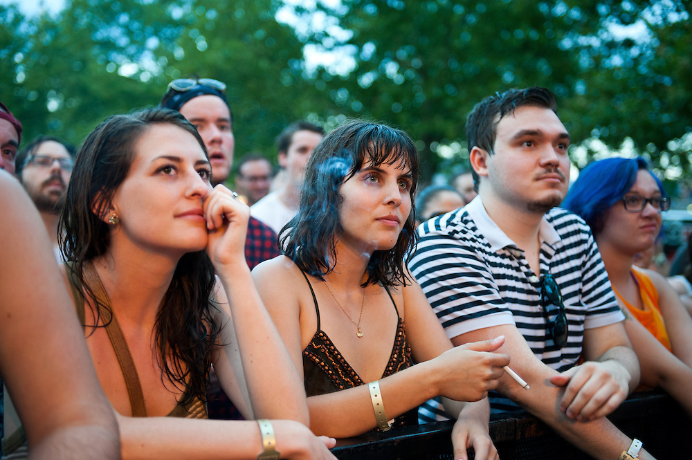 Fans enjoy Yo La Tengo performing at Bunbury Music Festival at Yeatman's Cove in Cincinnati, Ohio on July 14, 2013.