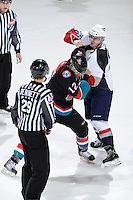KELOWNA, CANADA, OCTOBER 5: Lukas Walter #20 of the Tri City Americans drops the gloves against Tyrell Goulbourne #12 of the Kelowna Rockets on October 5, 2011 at Prospera Place in Kelowna, British Columbia, Canada (Photo by Marissa Baecker/shootthebreeze.ca) *** Local Caption ***Lukas Walter;Tyrell Goulbourne;