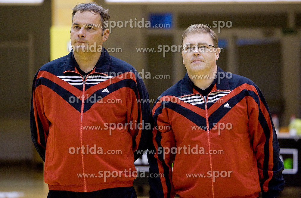 Referees Dusan Derzek and Bojan Brecelj (L-R) at the handball match between RD Ribnica Riko-hise and RK Prevent of MIK 1st League 2009 - 2010,  on October 04, 2009, in Ribnica, Slovenia.   (Photo by Vid Ponikvar / Sportida)