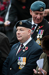 Veterans take part in a 2011 local Remembrance Day service at a local war memorial in Chapeltown Park, Sheffield South Yorkshire. .13 November 2011. Image © Paul David Drabble