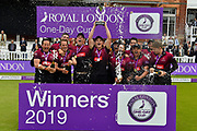 Somerset win - Tom Abell of Somerset celebrates as he lift the trophy with his team mates after beating Hampshire during the Royal London 1 Day Cup Final match between Somerset County Cricket Club and Hampshire County Cricket Club at Lord's Cricket Ground, St John's Wood, United Kingdom on 25 May 2019.
