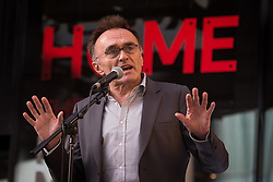 "© Licensed to London News Pictures . 21/05/2015 . Manchester , UK . DANNY BOYLE delivers a speech at the "" HOMEwarming weekend "" - the official opening of HOME - the new £25million arts venue on First Street in Manchester , consisting of cinema complex , theatres and galleries and formerly housed at The Corner House and the Library Theatre , on Manchester's Oxford Road .  Photo credit : Joel Goodman/LNP"
