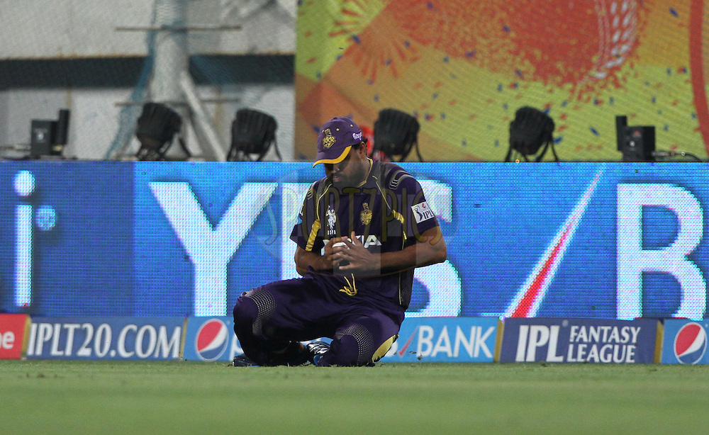 Yusuf Pathan of the Kolkata Knight Riders take a catch of Brendon McCullum of The Chennai Superkings during match 21 of the Pepsi Indian Premier League Season 2014 between the Chennai Superkings and the Kolkata Knight Riders  held at the JSCA International Cricket Stadium, Ranch, India on the 2nd May  2014<br /> <br /> Photo by Deepak Malik / IPL / SPORTZPICS<br /> <br /> <br /> <br /> Image use subject to terms and conditions which can be found here:  http://sportzpics.photoshelter.com/gallery/Pepsi-IPL-Image-terms-and-conditions/G00004VW1IVJ.gB0/C0000TScjhBM6ikg