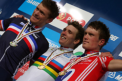 Adrien Petit (France), winner  Arnaud Demare (France) and  Andrew Fenn (Great Britain) at  medal ceremony after the Men´s Under 23 Road Race on day five of the UCI Road World Championships on September 23, 2011 in Copenhagen, Denmark. (Photo by Marjan Kelner / Sportida Photo Agency)
