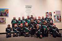 Musicians from the Alisal Community Arts Network pose for a group photo at the December 5th, 2017 opening of the Stories from Salinas exhibition at the CSUMB Salinas Center for Arts and Culture in Oldtown. The exhibition celebrates the mentors, youth and families of the Salinas Youth Initiative.