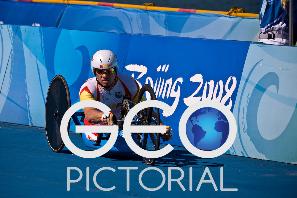 BEIJING, SEPTEMBER 12: Jose Vicente Arzo of Spain in the Men's Road Cycling Road Race Handcycling (HC A) at the Triathlon Venue during day six of the 2008 Paralympic Games on September 12, 2008 in Beijing, China.