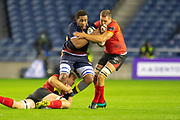 Viliame Mata (#8) of Edinburgh Rugby is tackled by Ruaan Lerm (#8) of Isuzu Southern Kings during the Guinness Pro 14 2018_19 rugby match between Edinburgh Rugby and Isuzu Southern Kings at the BT Murrayfield Stadium, Edinburgh, Scotland on 5 January 2019.