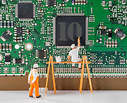Little world is the creation of Photographer Chris Willemsen, who creates these eye catching situations around everyday objects using children's toys<br /> <br /> Photo shows: painting the processor ready for windows 10<br /> ©Exclusivepix Media