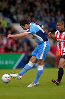 Photo: Richard Lane.<br />Cheltenham Town v Wycombe Wanderers. Coca Cola League 2. Play off Semi Final, 2nd Leg. 18/05/2006.<br />Wycombe's Russell Martin shoots.