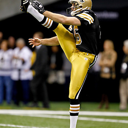 November 6, 2011; New Orleans, LA, USA; New Orleans Saints punter Thomas Morstead (6) warms up prior to kickoff of a game against the Tampa Bay Buccaneers at the Mercedes-Benz Superdome. Mandatory Credit: Derick E. Hingle-US PRESSWIRE