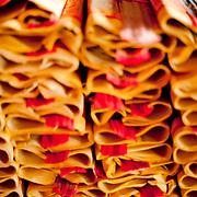 Votive money for sale at Orthodox Lu-erh-men Temple, Tainan , Taiwan