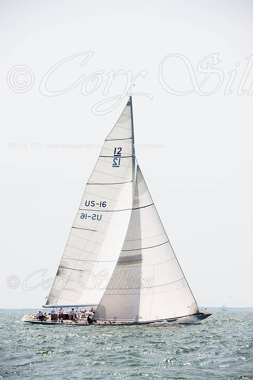 Columbia sailing at the Nantucker 12 Metre Regatta.