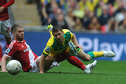 Middlesbrough Adam Clayton brings down Norwich Wes Hoolahan, Middlesbrough v Norwich, Sky Bet Championship, Play Off Final, Wembley Stadium, Monday  25th May 2015