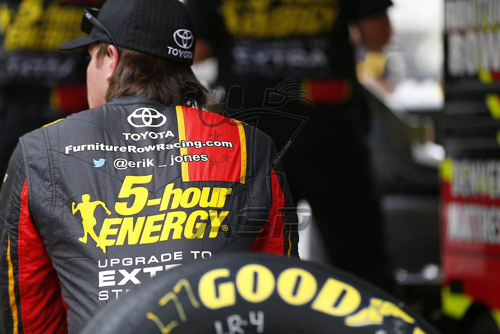 August 18, 2017 - Bristol, Tennessee, USA: Erik Jones (77) hangs out in the garage during practice for the Bass Pro Shops NRA Night Race at Bristol Motor Speedway in Bristol, Tennessee.