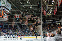 KELOWNA, CANADA - FEBRUARY 27: the Kelowna Rockets line up during the national anthem against the Spokane Chiefs on February 27, 2016 at Prospera Place in Kelowna, British Columbia, Canada.  (Photo by Marissa Baecker/Shoot the Breeze)  *** Local Caption *** anthem;