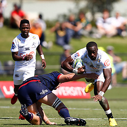 Madosh Tambwe of the Cell C Sharks during the super rugby match between the Melbourne Rebels and the Cell C Sharks at the  Mars Stadium,Ballarat,Western suburbs of Melbourne,Victoria, Australia, 22,020,2020 (Photo Steve Haag /HollywoodBets)