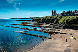 The beach at St Andrews, Fife Scotland near the castle with the ruined cathedral in the distance<br /> <br /> (c) Andrew Wilson | Edinburgh Elite media