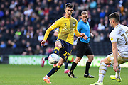 Coventry City midfielder Zain Westbrooke (25) looks to release the ball  during the EFL Sky Bet League 1 match between Milton Keynes Dons and Coventry City at stadium:mk, Milton Keynes, England on 19 October 2019.