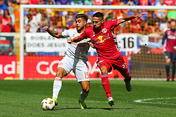 September 30, 2018 - Harrison, NJ, U.S. - HARRISON, NJ - SEPTEMBER 30:   Atlanta United forward Hector Villalba (15) during the first  half of  the Major League Soccer game between the New York Red Bulls and Atlanta United on September 30, 2018 at Red Bull Arena in Harrison, NJ.  (Photo by Rich Graessle/Icon Sportswire)HARRISON, NJ - SEPTEMBER 30:   Atlanta United forward Hector Villalba (15) battles New York Red Bulls midfielder Sean Davis (27) during the first  half of  the Major League Soccer game between the New York Red Bulls and Atlanta United on September 30, 2018 at Red Bull Arena in Harrison, NJ.  (Photo by Rich Graessle/Icon Sportswire) (Credit Image: © Rich Graessle/Icon SMI via ZUMA Press)