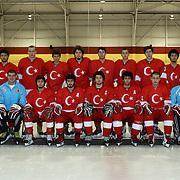 The Turkish U'20 Ice Hockey team at the 2012 IIHF Ice Hockey World Championships Division 3 held at Dunedin Ice Stadium. Dunedin, Otago, New Zealand. 17th January 2012. Photo Tim Clayton