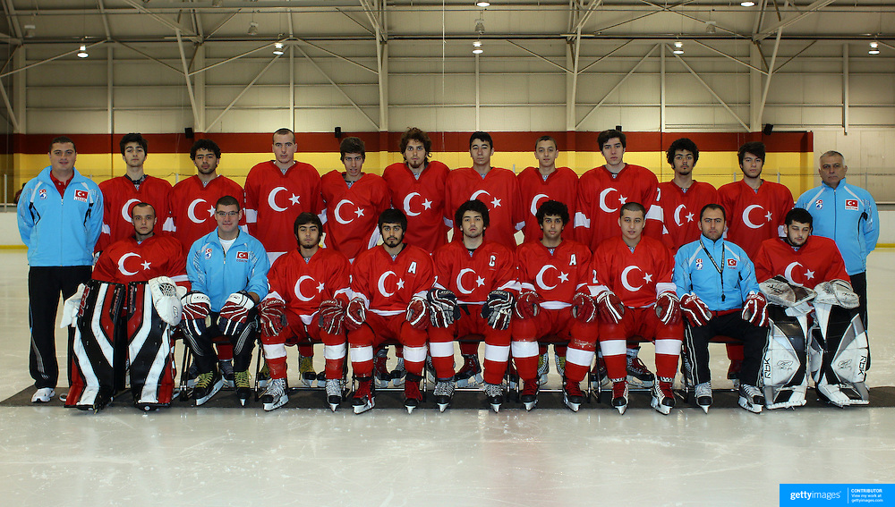 The Turkish U'20 Ice Hockey team at the 2012 IIHF Ice Hockey World Championships Division 3 held at Dunedin Ice Stadium. Dunedin, Otago, New Zealand. 17th January 2012. Photo Tim Clayton