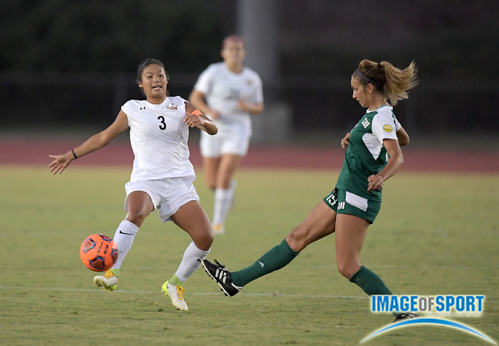 Cal State Dominguez Hills forward Naomi Willey (3) and Concordia Eagles dfender Rachel Edelstine (15) battle for the ball during a nonconference women's soccer match  in Carson, Calif. on Friday, September 8, 2017. Concordia defeated CSUDH 3-1.