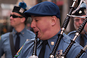A piper in the Rockland County Emerald Society Pipe and Drum band.