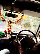 Garland in a taxi