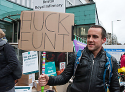 © Licensed to London News Pictures.09/03/2016. Bristol, UK.  Junior Doctors picket line at the Bristol Royal Infirmary at the start of their 48 hour strike against a new Government imposed NHS contract. Photo credit : Simon Chapman/LNP