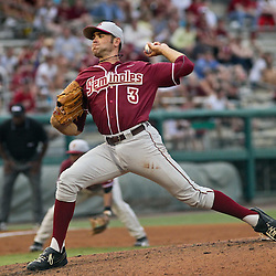 June 04, 2011; Tallahassee, FL, USA; Florida State Seminoles starting pitcher Sean Gilmartin (3) throws during the first inning of the Tallahassee regional of the 2011 NCAA baseball tournament against the Alabama Crimson Tide at Dick Howser Stadium. Mandatory Credit: Derick E. Hingle