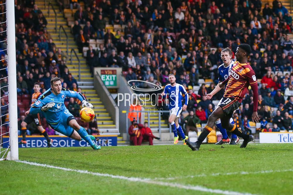 Bradford City forward, on loan from Huddersfield Town, Jordy Hiwula (11) scores a goal  to make the score 2-0 during the EFL Sky Bet League 1 match between Bradford City and Chesterfield at the Northern Commercials Stadium at Valley Parade, Bradford, England on 7 January 2017. Photo by Simon Davies.