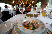 Eastern & Oriental Express. Salad with Prawns and Duck Breasts at the Dining Car.