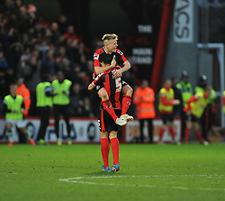 Bournemouth's Matt Ritchie celebrates with Bournemouth's Tommy Elphick after scoring his second.- Photo mandatory by-line: Alex James/JMP - Tel: Mobile: 07966 386802 26/12/2013 - SPORT - FOOTBALL - Goldsands Stadium - Bournemouth - AFC Bournemouth v Yeovil Town - Sky Bet Championship
